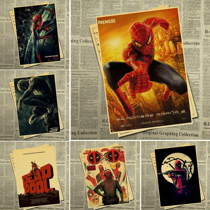 Retro poster sticker Marvel movie comic poster Deadpool high quality painting coated poster family bar wall decoration sticker