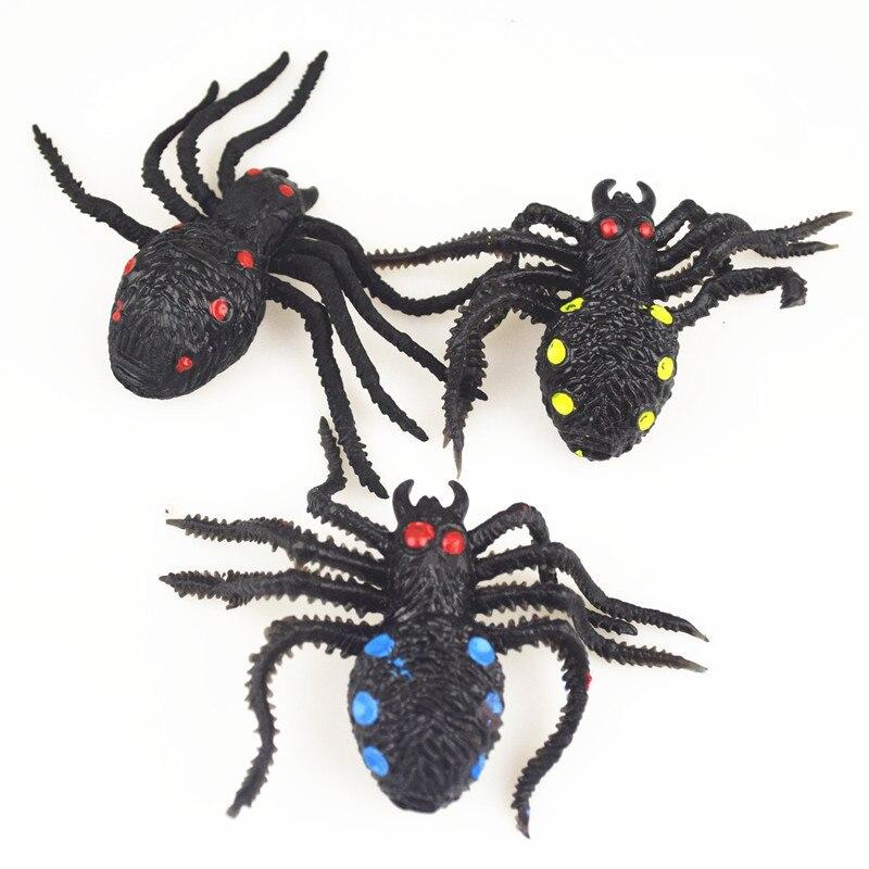 Big Size Halloween Novel Black TPR Simulation Spider Shaped Rubber Kids/Children Toy