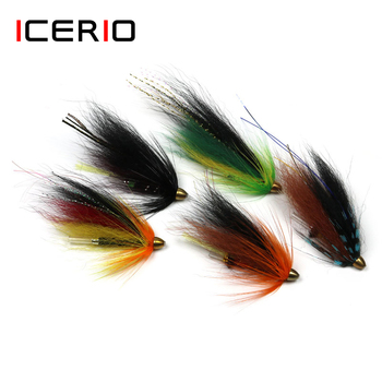 ICERIO 10PCS Conehead Tube Streamer Flies for Salmon Trout and Steelhead Fly Fishing Lures image