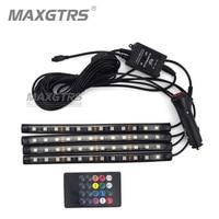 4x 12 LED 5050 12V Car Stickers Sound Music Glow LED Interior Decorative Atmosphere Light Wireless