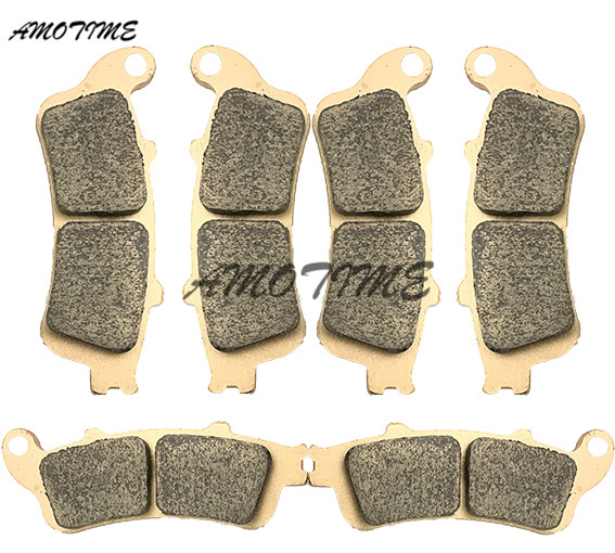 Motorcycle Parts Copper Based Sintered Motor Front & Rear Brake Pads For Honda NT650 2002-2005 VFR800 1998-2005 XL1000 1999-2006