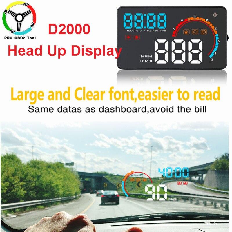 2019 nouveauté D2000 HUD affichage voiture vitesse tête haute alarme à bord ordinateur compteur de vitesse pare-brise projecteur voiture outil livraison gratuite