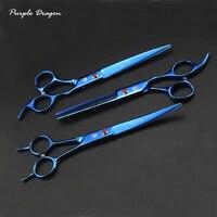 Purple Dragon 3pcs/set 7 inch Professional Pet Dog Grooming Scissors Straight Scissors & Curved Shears & thinning scissors