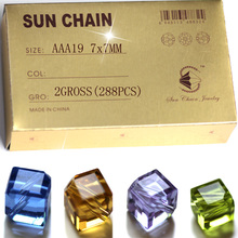 AAA19  Crystal Glass cube beads hape beads inclined hole shinning Jewelry compontments Wholesale 8mm accessories цена