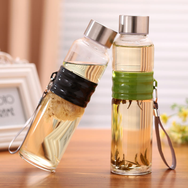 buy 500ml transparent borosilicate glass bottle no logo detachable borraccia. Black Bedroom Furniture Sets. Home Design Ideas