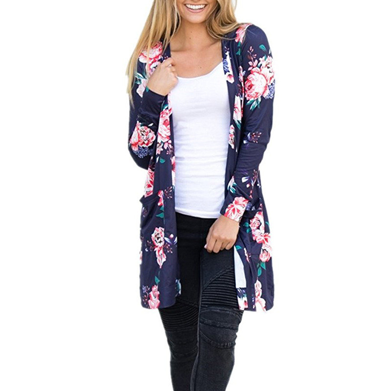 Plus Size Long Sleeve Cardigans Floral Print Thin Coat 2017 Autumn Open Stitch Women Sweaters and Cardigans Pockets Long Coats como vestir con sueter mujer