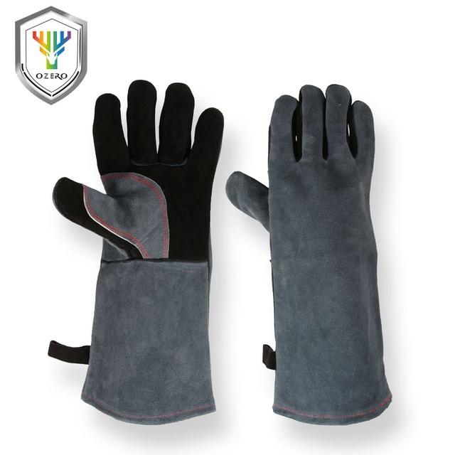OZERO Welding Glove Work Welders Cowskin Leather Barbecue Gloves Working Garden Protective Cut Resistant Long Sleeve Glove 2415