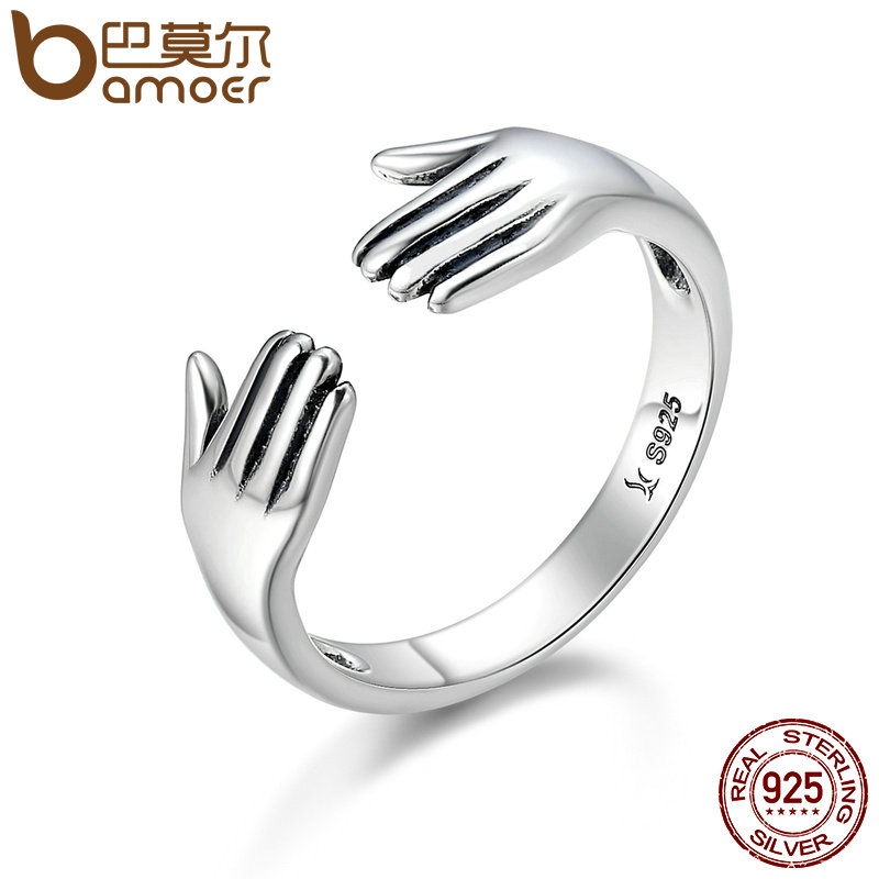 BAMOER Genuine 925 Sterling Silver Double Layer Give Me A Hug Hand Open Finger Rings for Women Sterling Silver Jewelry SCR136