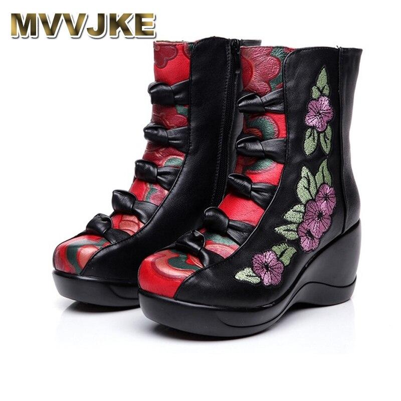 MVVJKE Women's Boots 2018 Autumn Winter New Genuine Leather Wedges Shoes Embroidered Flower Medium-leg warm High Heel Boots girls flower embroidered wide leg jumpsuit