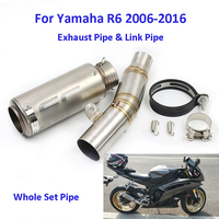 Full Exhaust System Slip on R6 Motorcycle Exhaust Pipe & Middle Connect Link Pipe Whole Set Pipe for Yamaha R6 2006 2016
