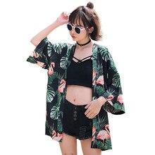 Mujeres Casual Vintage Kimono Cardigan verano Flare manga Flora impreso  flojo Kimono Tops mujer Harajuku Streetwear 7df2af189ae
