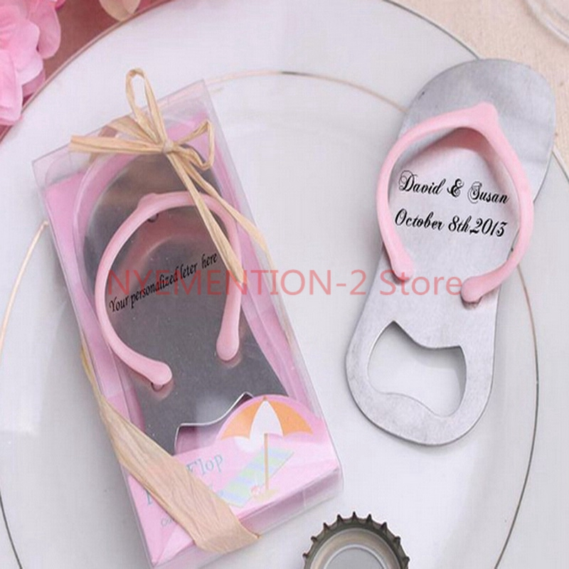 Personalized Beach Wedding Gifts: (200pcs/Lot)+Customized Flip Flop Wine Bottle Opener Beach