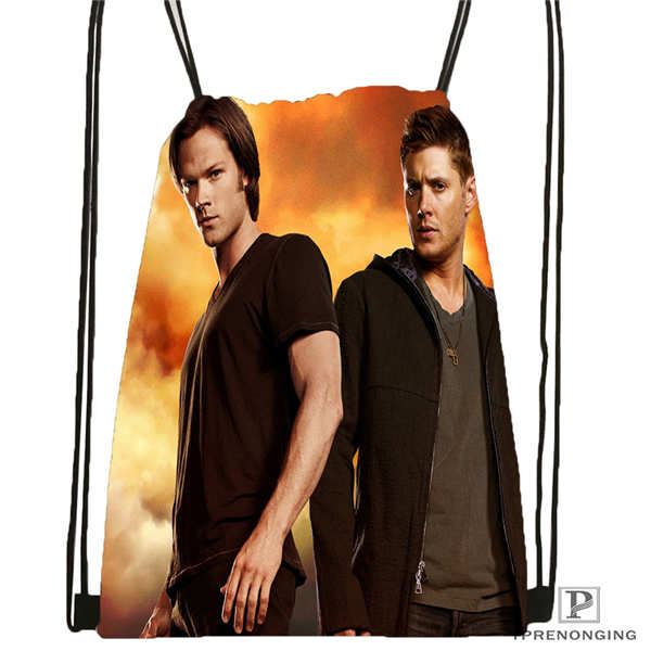 Custom Dean-supernatural-  Drawstring Backpack Bag Cute Daypack Kids Satchel (Black Back) 31x40cm#180611-03-112