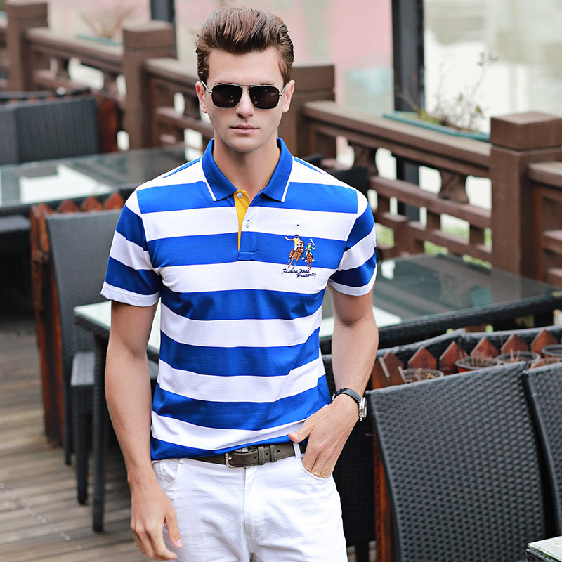 2019 Embroidery Men   Polo   Shirt Summer Short Sleeve Cotton Shirts Male Business Striped Mens Tees Brand Clothing Plus size 3XL
