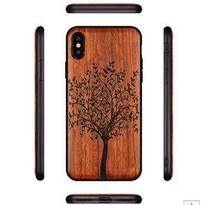 Image 3 - Novo para o iphone xs max caso de madeira fina capa traseira tpu pára choques caso para iphone xs xr x iphone xs max casos de telefone