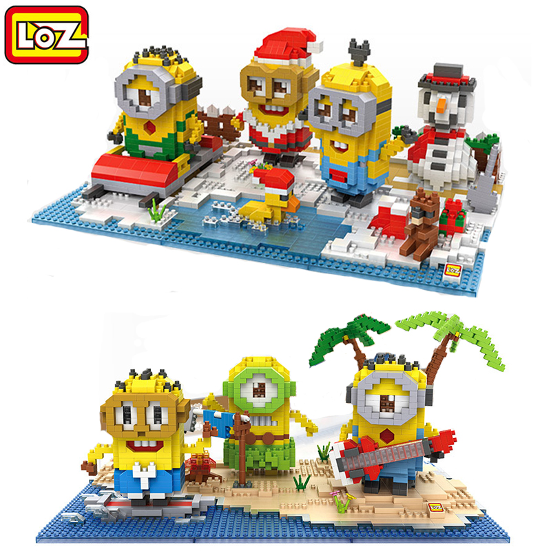 NEW Minions Christmas sets gift LOZ Diamond building Blocks lot Despicable me kids toys anime figure cartoonplastic toy bricks loz diamond blocks figuras classic anime figures toys captain football player blocks i block fun toys ideas nano bricks 9548