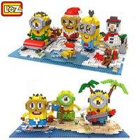 NIEUWE Minions Kerst sets gift LOZ Diamant bouwstenen veel Despicable me kids speelgoed anime figuur cartoonplastic speelgoed bakstenen
