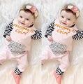 Новорожденный Ребенок Девушки Полосатый Розовый Ползунки Комбинезон цельный Одежда 0-24 М