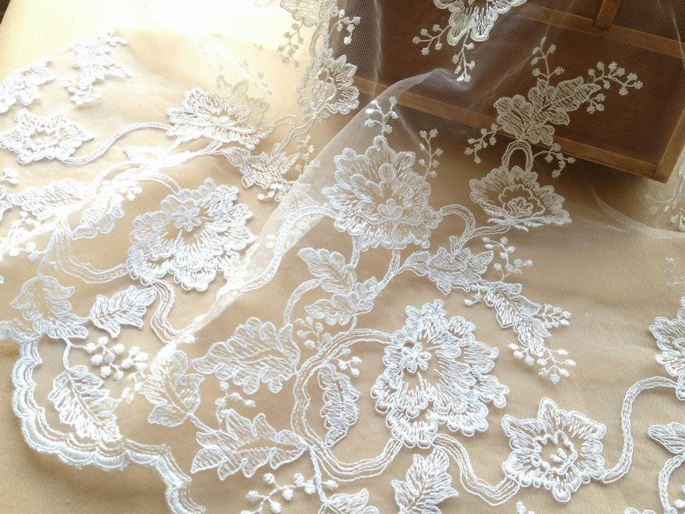 Buy luxury alencon lace fabric ivory for Wedding dress fabric stores