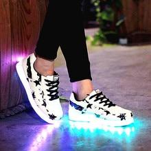Women&Men Led Shoes Stars Series Casual light Shoes Glow LED Luminous Shoes Woman Light up Chaussure Lumineuse USB Basket Femme