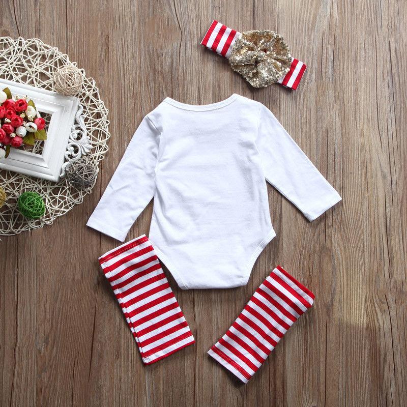 New Infant Baby Girl Cute Clothe Jumpsuit White Full Sleeve Bodysuit Sweet Stripe Legs Sequins Bow Warmer Headband 3pcs Kids Set