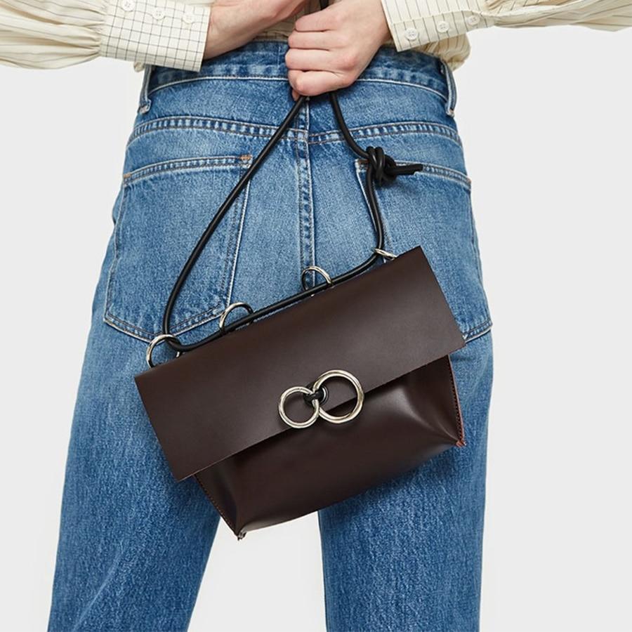Luxury Ring Solid Color Women's Messenger Bag Simple Pu Leather Shoulder Crossbody Bags For Women Designer Leather Envelope Bag