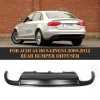 Black FRP Car Rear Bumper Lip Spoiler Diffuser For Audi A4 B8 S4 Sline Sedan Only 2009 2012 Four outlet