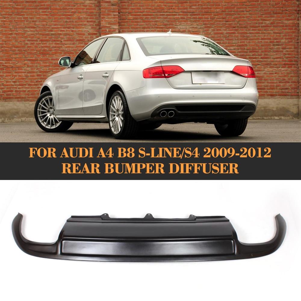 Black FRP Car Rear bumper lip Spoiler diffuser For Audi A4 B8 S4 Sline Sedan Only 09-12 Four outlet неокрашенный задний багажник спойлер крыла для audi a4 b8 sedan 09 12 ca стиль