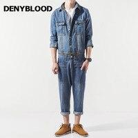 Denyblood джинсы мужские джинсовый брючный комбинезон брюки нагрудники Повседневное Рабочий костюм комбинезон человек талии молния закрытия