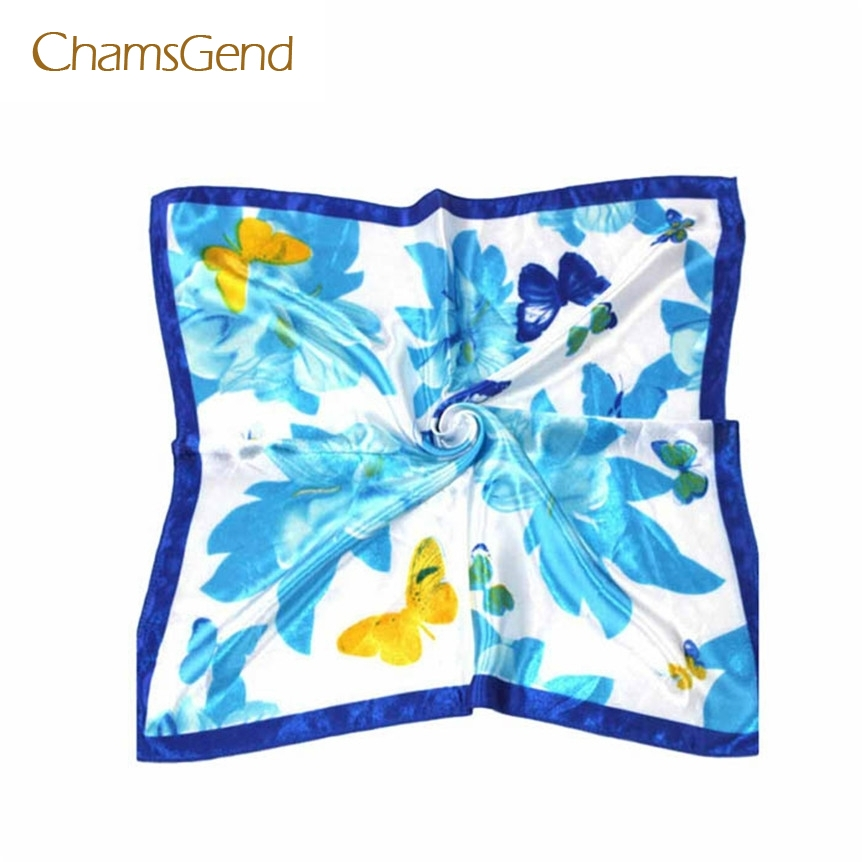 Chamsgend Coolbeener Hot Satin Silk Square Scarf Women Fashion Joker Four Seasons Silk Satin Scarves Dec6