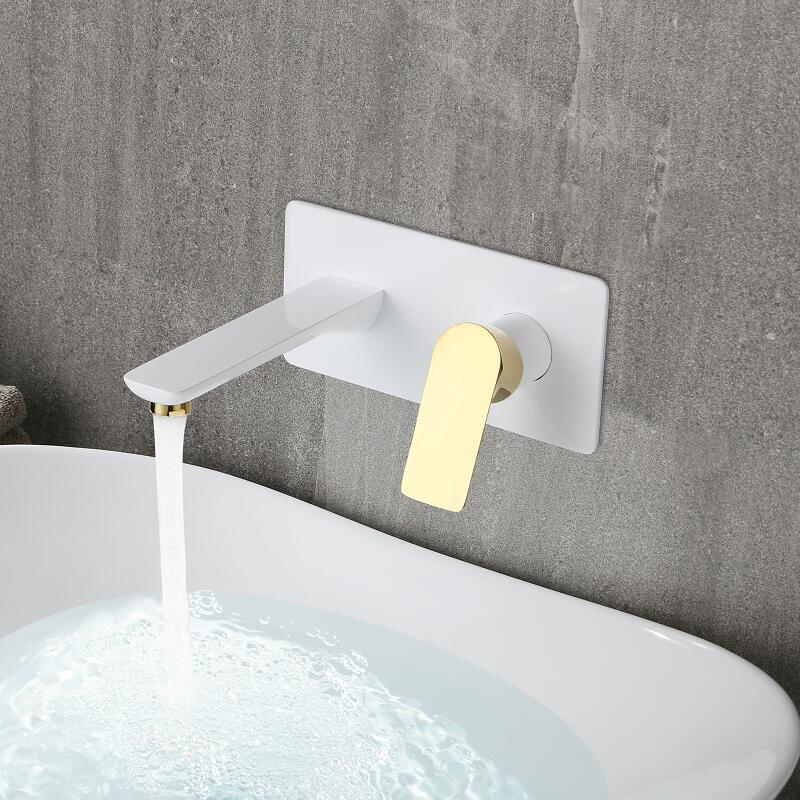 Wall Mounted Basin Faucet Single Handle Gold Chrome Bathroom Mixer Tap Hot Cold Sink Faucet Basin