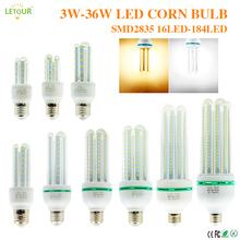 Światła led do domu E27 żarówka kukurydza lampy sufitowe 3W ~ 36W 6000K Super Bright High Illumination oprawy lampa energooszczędna tanie tanio letour CN (pochodzenie) Natura biały (3500-5500 k) 2835 SALON AC86-265V W kształcie litery U 50000 10-27CM Żarówki LED