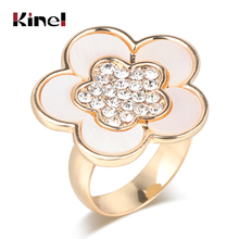 Kinel Hot Fashion White Seashell Ring For Women Gold Color Crystal Flower Engagement Jewelry Party Rings