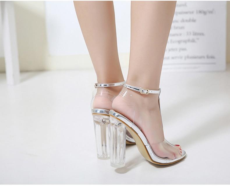 HTB1GUXdXffsK1RjSszbq6AqBXXaf Eilyken 2019 PVC Jelly Sandals Crystal Leopard Open Toed High Heels Women Transparent Heel Sandals Slippers Discount Pumps 11CM