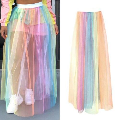Rainbow Women Sexy See-through Sheer Mash Skirts Woman Ladies Summer Beach Cover Up Female Casual Long Maxi Skirt