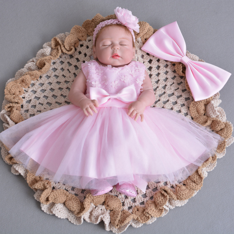 55cm full silicone body reborn baby girl doll in luxury pink princess dress collectible doll