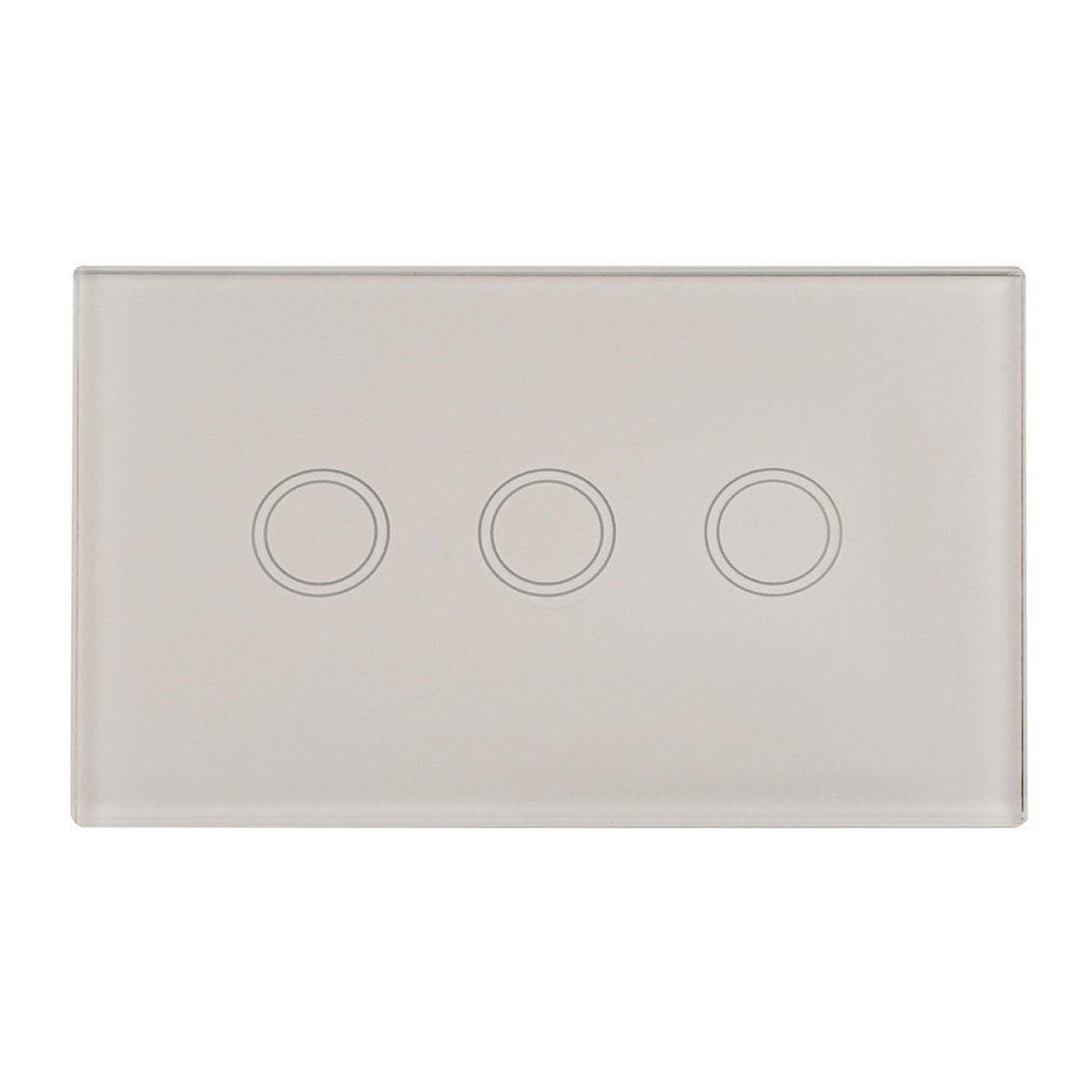 Standard Smart 3 Gang 1 Touch Control Glass LED Panel Wall Light Switch US Wall Light Touch Screen Panel Inventory Clearance smart home eu touch switch wireless remote control wall touch switch 3 gang 1 way white crystal glass panel waterproof power