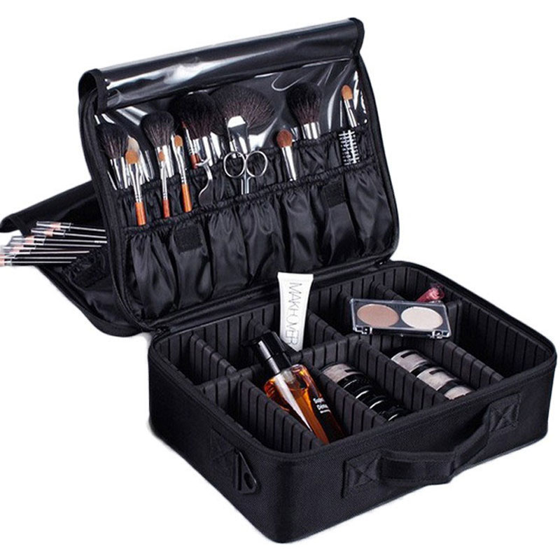 High Quality Empty Professional Makeup Organizer Make Up Bag Cosmetic Makeup Case Travel Large Capacity Storage Bag Suitcases