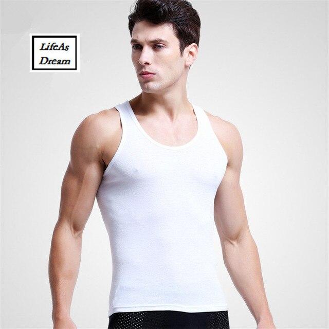 6882c158be 3PCS\Lot Brand Men's 95% Cotton O-Neck Tank Tops Summer Male Sleeveless