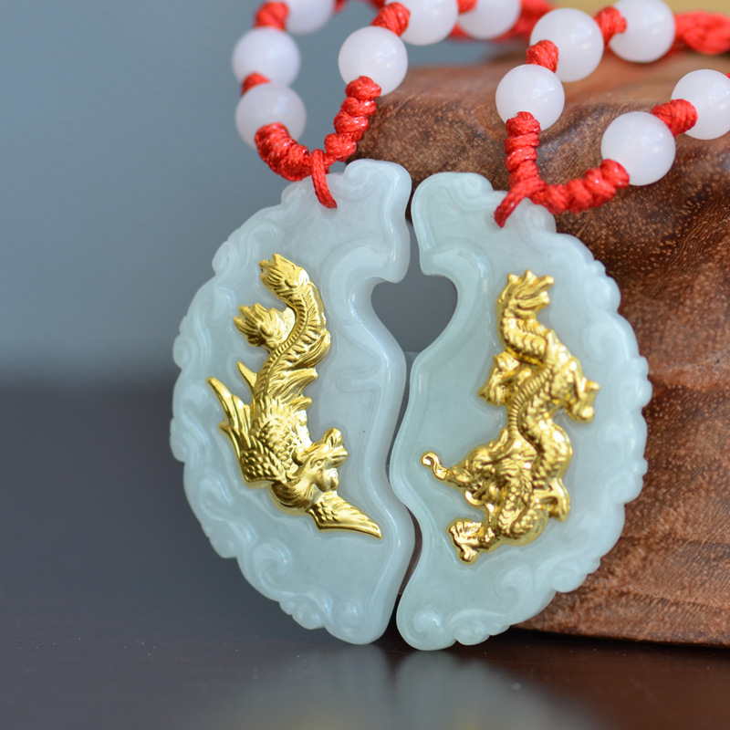 Phoenix and Dragon Jade Pendant Good Luck Jade Necklace Lovers Couple Best Gifts Pendants For Men Women natural jadeite dragon brand lace jade pendant zodiac dragon transshipment yu pei jade pendant necklace for women and men