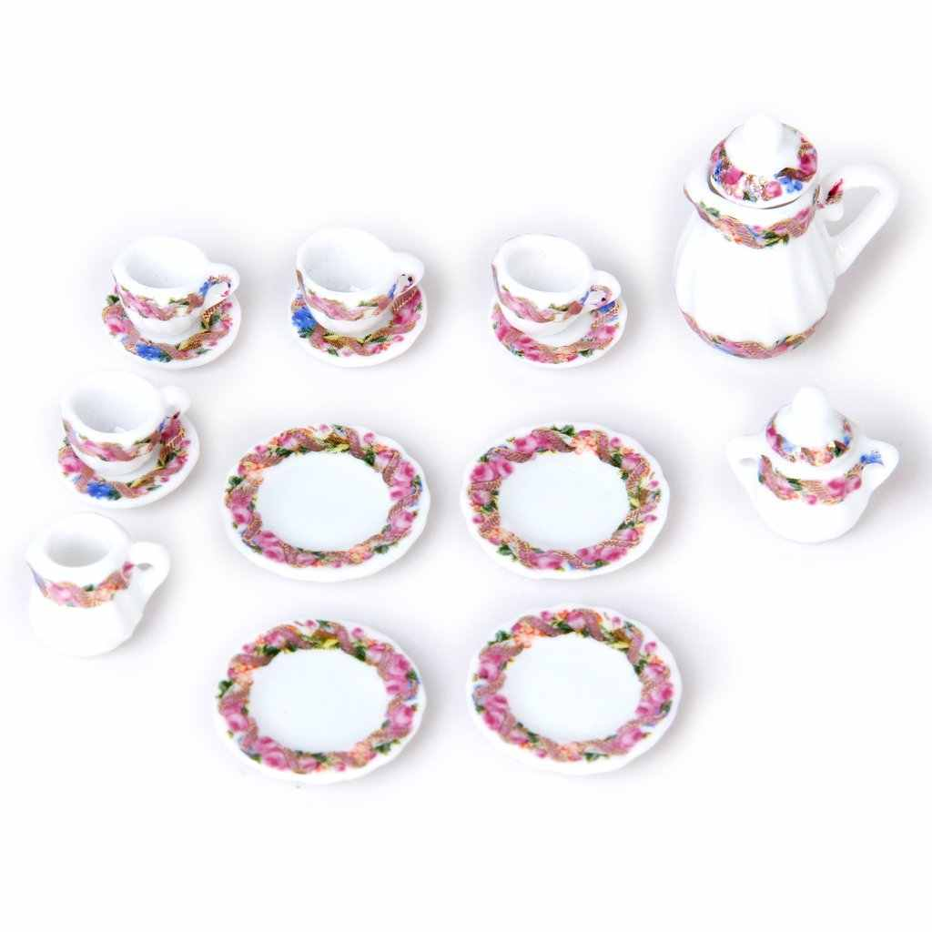 15pcs Doll House Miniature Porcelain Tea Set Dish+Cup+Plate - Colorful Floral Print