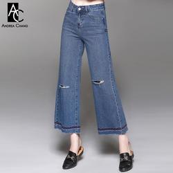 На осень-зиму женщина Джинсовые брюки синие джинсы с отверстия на коленях Белый Красный Газа Вышивка на модные повседневные Хлопковые