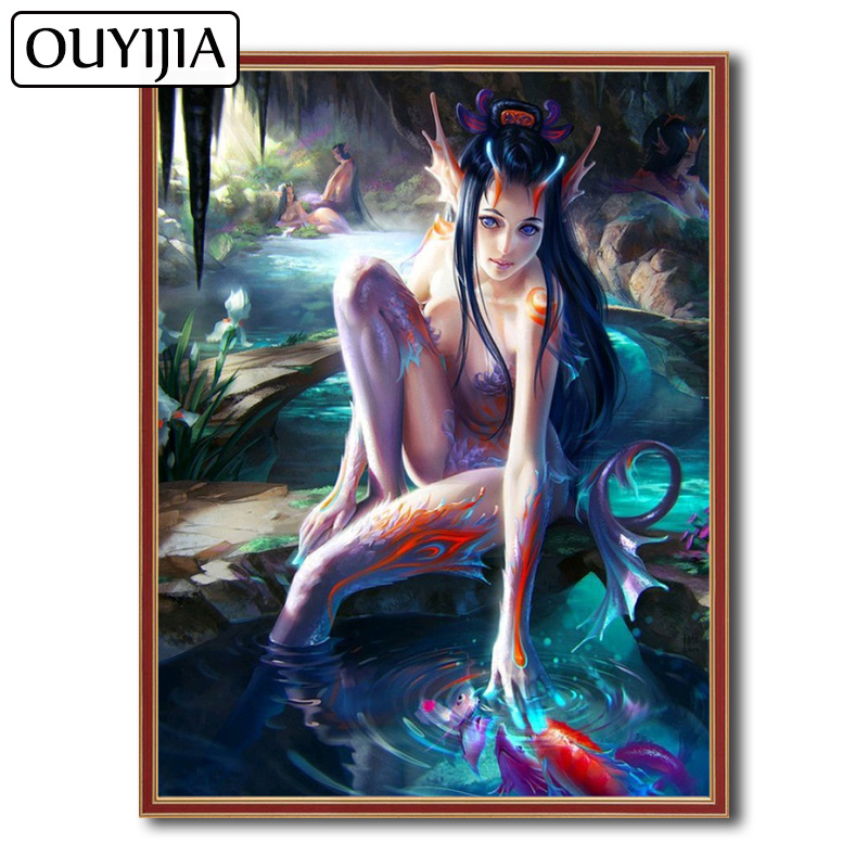 OUYIJIA <font><b>5D</b></font> DIY <font><b>Diamond</b></font> <font><b>Painting</b></font> <font><b>Sexy</b></font> Cartoon Mermaid Beauty Siren Animal Embroidery Decoration Gift Mosaic Rhinestone Picture image
