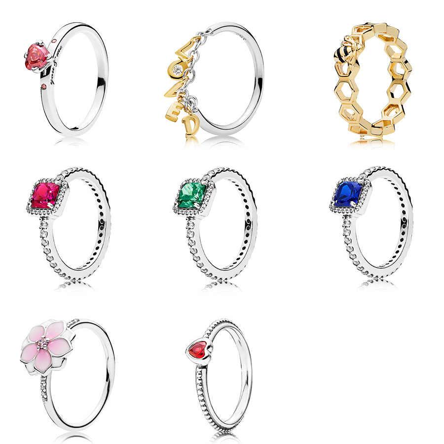 หัวใจสีแดง CZ GOLD Letter รัก 925 แหวนเงินแท้สีชมพูดอกไม้แหวนสำหรับผู้หญิง 925 เครื่องประดับงานแต่งงาน