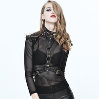 Steampunk Sexy Women Neck Corset Collar Cool Garments Collar Accessory Heavy Punk Collar Straps PU Leather Wraps with Rivets