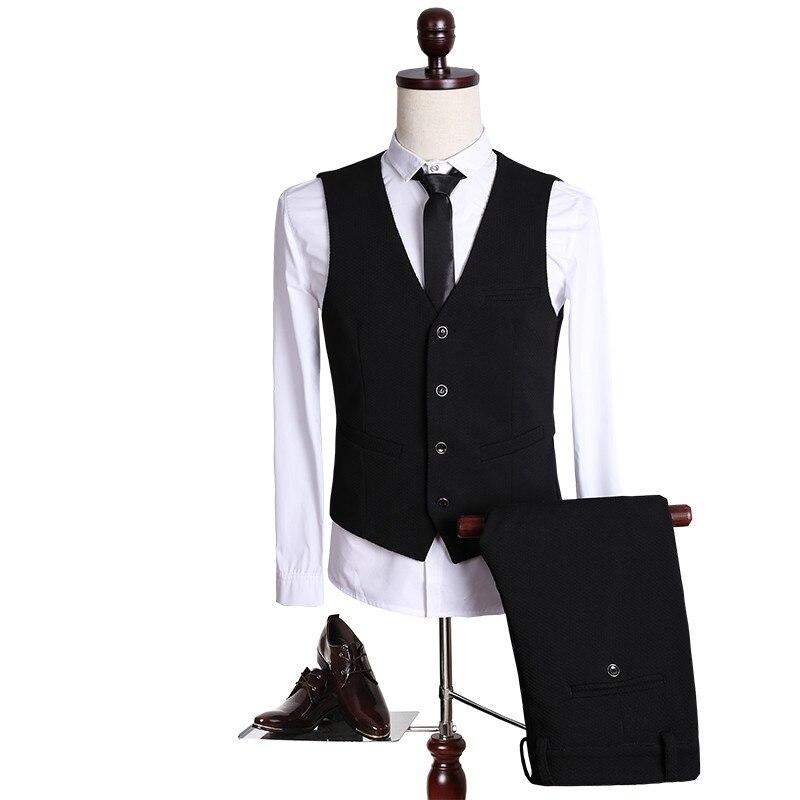 2017 new High quality Single Button black casual suit men,blazer wedding dress,Business Suit(Jackets+vest+Pants) size M- 5XL