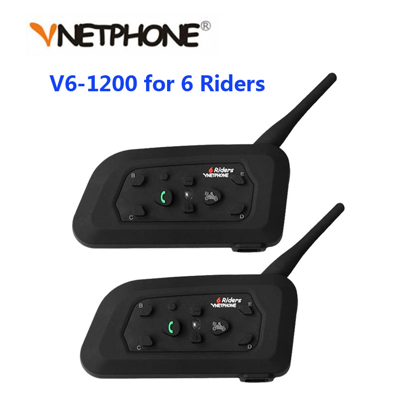 Vnetphone 2PCS 1200M Motorcycle Bluetooth Helmet Intercom For 6 Riders BT Wireless Waterproof Interphone Headsets MP3(China)