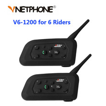 Vnetphone 2個1200メートルオートバイのbluetoothヘルメットインターホン6ライダーbtワイヤレス防水インターホンヘッドセットMP3