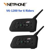 Vnetphone 2PCS 1200Mรถจักรยานยนต์หมวกนิรภัยBluetooth Intercomสำหรับผู้ขับขี่6คนBTไร้สายกันน้ำInterphoneชุดหูฟังMP3