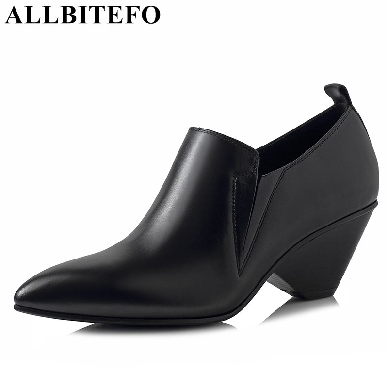 ALLBITEFO 2017 new spring genuine leather pointed toe thick heel women pumps brand high heels office ladies high heel shoes new genuine leather superstar solid thick heel zipper gladiator women pumps pointed toe office lady nude runway casual shoes l88